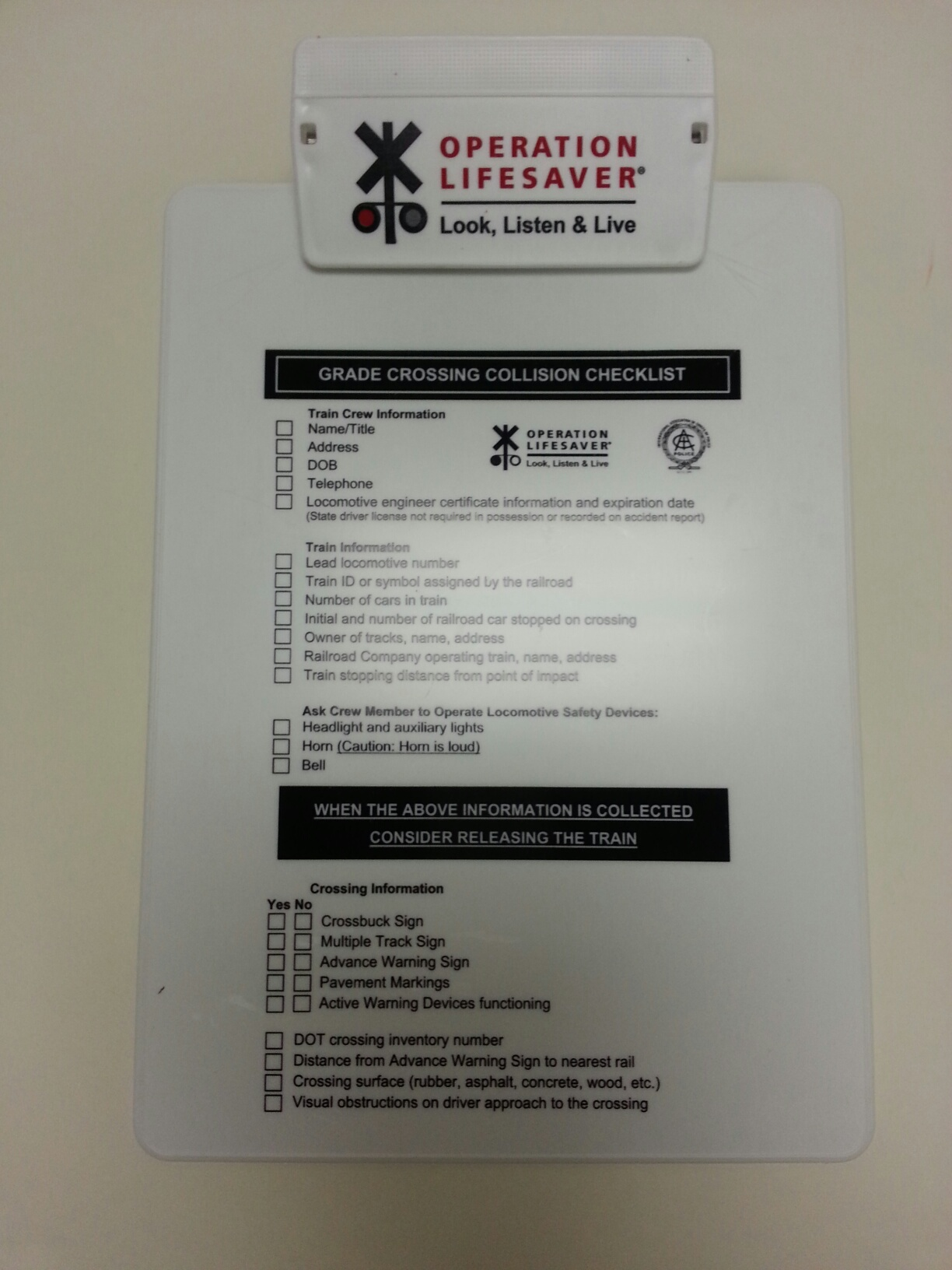 Operation Lifesaver Gcci Material Clipboard